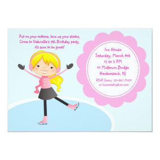 Invitation rose d'anniversaire de patinage de