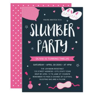 Invitation rose d'anniversaire de soirée pyjamas