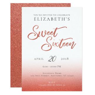 Invitation rose d'anniversaire de sweet sixteen