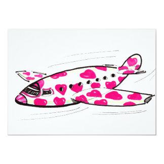 Invitation rose d'avion de coeur