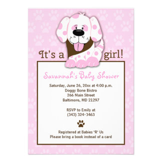 Invitation rose de baby shower d empreinte de patt