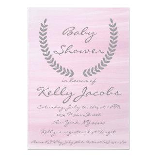 Invitation rose de baby shower d'aquarelle