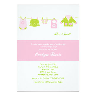 Invitation rose de baby shower de corde à linge