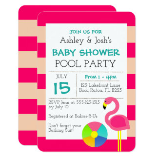 Invitation rose de baby shower de flamant
