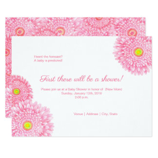 Invitation rose de baby shower de Gerbera