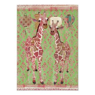 Invitation rose de baby shower de girafes douces
