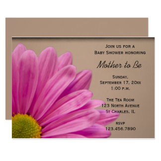 Invitation rose de baby shower de marguerite de