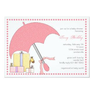 Invitation rose de baby shower de parapluie