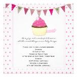 Invitation rose de baby shower de petit gâteau