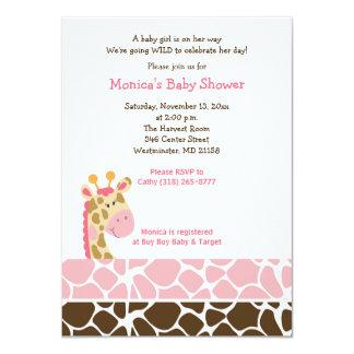 Invitation rose de baby shower de safari de jungle carton d'invitation  11,43 cm x 15,87 cm