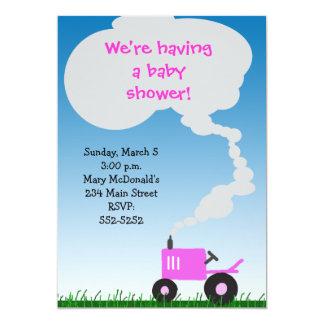 Invitation rose de baby shower de tracteur