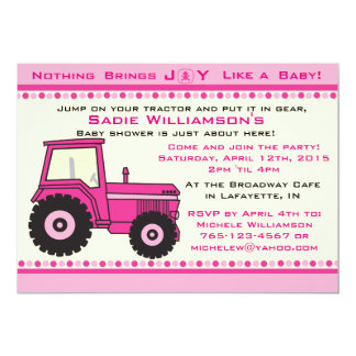 Invitation rose de baby shower de tracteur de