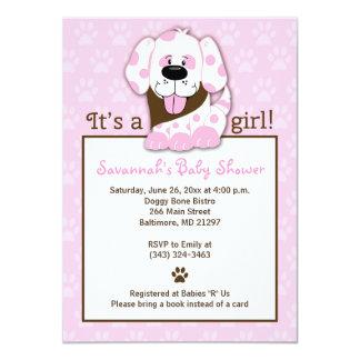 Invitation rose de baby shower d'empreinte de carton d'invitation  11,43 cm x 15,87 cm