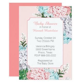 Invitation rose de baby shower d'hortensias en