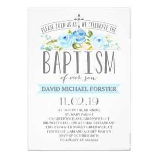 Invitation rose de baptême de garçon de la