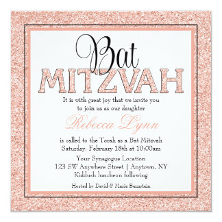 Invitation rose de bat mitzvah d'or de parties