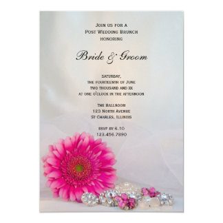 Invitation rose de brunch de mariage de marguerite