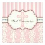 Invitation rose de damassé de première communion