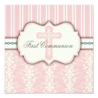 Invitation rose de damassé de première communion carton d'invitation  13,33 cm