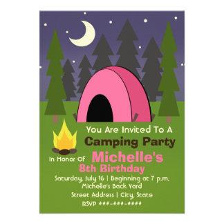 Invitation rose de fête d anniversaire de camping
