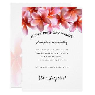 Invitation rose de fête d'anniversaire de surprise