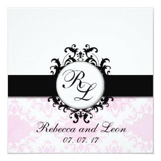 Invitation rose de mariage damassé d'initiales