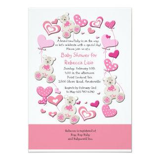 Invitation rose de nounours et de ballons de coeur