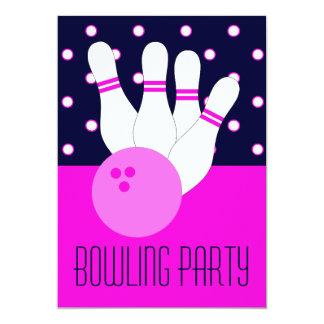 Invitation rose de partie de bowling de filles