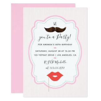 Invitation rose de partie de moustache de filles