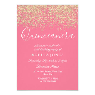 Invitation rose de Quinceanera de confettis de