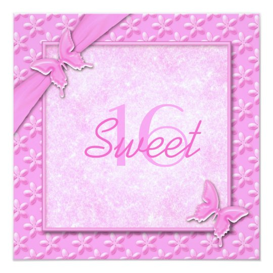 Invitation rose de sweet sixteen de papillons