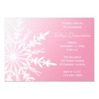 Invitation rose et blanc de Quinceañera d'hiver de