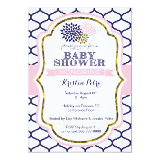 Invitation rose et bleu de baby shower