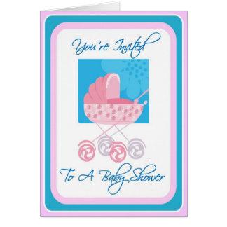 Invitation rose et bleue de baby shower