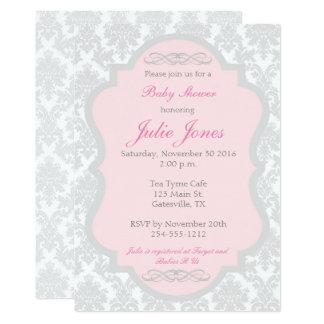 Invitation rose et grise de baby shower de damassé