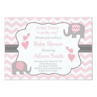 Invitation rose et grise de baby shower d'éléphant