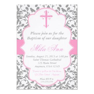 Invitation rose et grise de baptême de damassé de