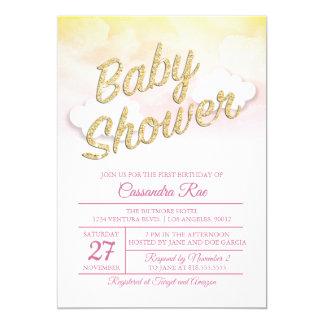 Invitation rose et jaune de baby shower de coucher