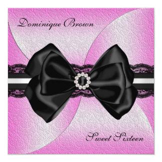 Invitation rose et noir élégant avec l'arc de carton d'invitation  13,33 cm