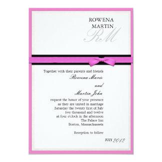 Invitation rose et noire de classique de carton d'invitation  12,7 cm x 17,78 cm