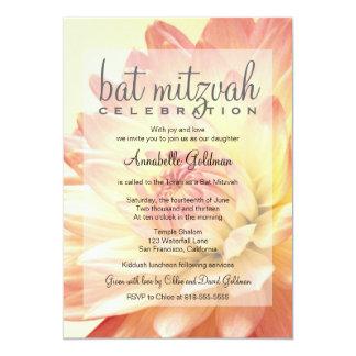 Invitation rose et orange de bat mitzvah