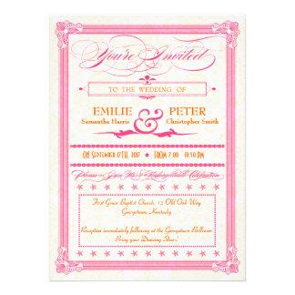 Invitation rose et orange de mariage d'Affiche-Sty