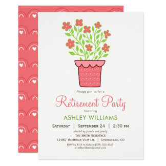 Invitation rose et verte de partie de retraite