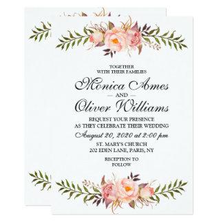 Invitation rose florale d'aquarelle de mariage