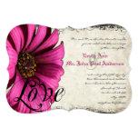 Invitation rose fuchsia de mariage de marguerite carton d'invitation  12,7 cm x 17,78 cm