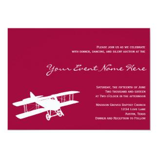 Invitation rose magenta d'événement de biplan carton d'invitation  12,7 cm x 17,78 cm