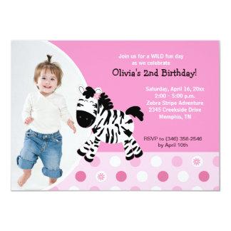 Invitation rose mignonne d'anniversaire de photo carton d'invitation  11,43 cm x 15,87 cm