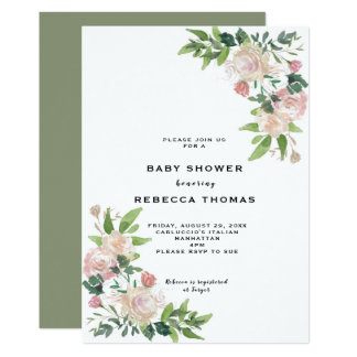 invitation rose moderne de baby shower de verdure