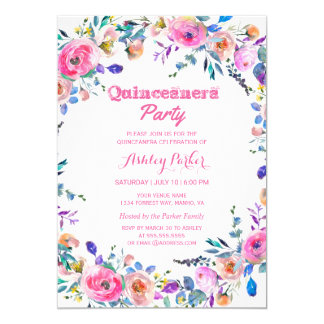 Invitation rose tropical Girly de Quinceanera de