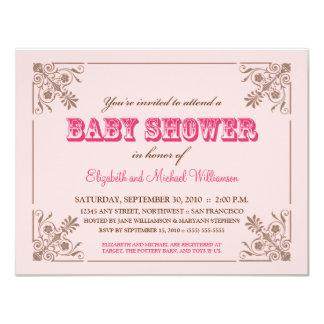 Invitation rose vintage de baby shower